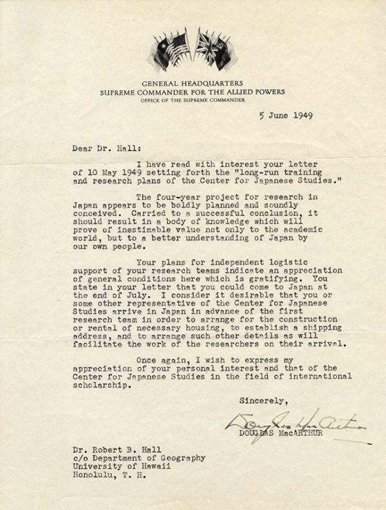 A photo of General MacArthur's Letter to CJS Director Robert Hall