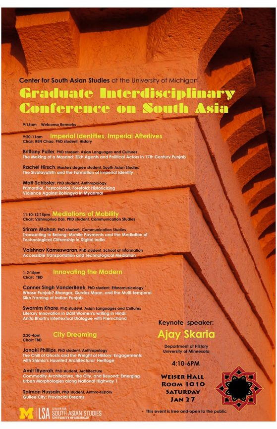 Graduate Interdisciplinary Conference on South Asia | January 2018